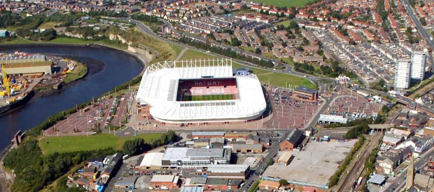 SAFC fixtures - next few games - Stadium of Light aerial shot of Sunderland and the River Wear