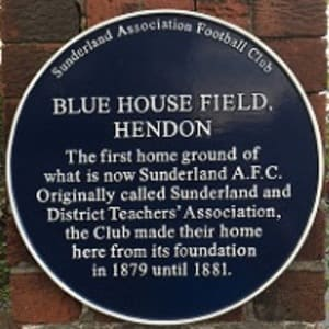 SAFC - Raich Carter - Blue House Field, Hendon - Sunderland's first football ground plaque
