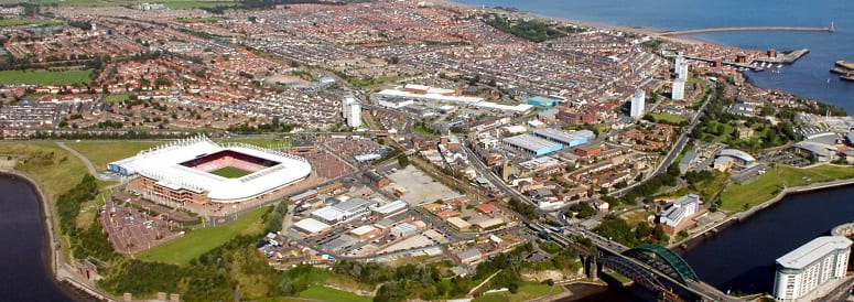 Monkwearmouth from the air - aerial shot north of the River Wear