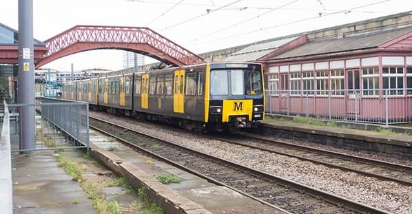 Monkwearmouth Station Sunderland with a Metro Train