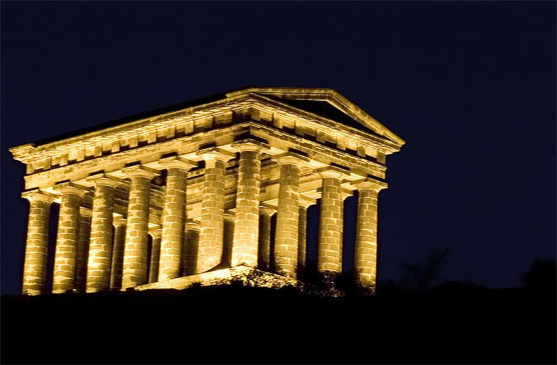 Penshaw Monument at night with lights - Sunderland landmarks