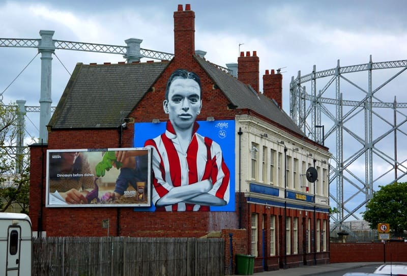Raich Carter Mural on Blue House Pub - Hendon Sunderland