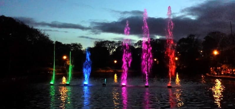 Roker Park Illuminations - coloured fountains on the lake