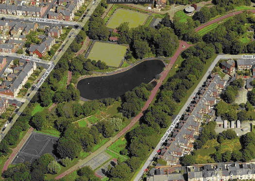 Roker Park Plan from the air showing the pond