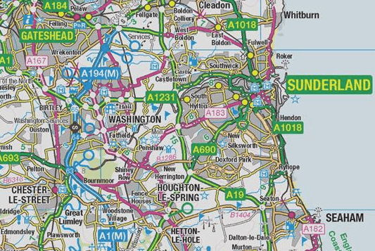 City of Sunderland map showing Washington - Wearside Online