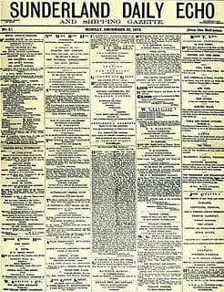 Sunderland Echo first published 22nd December 1873 - front page