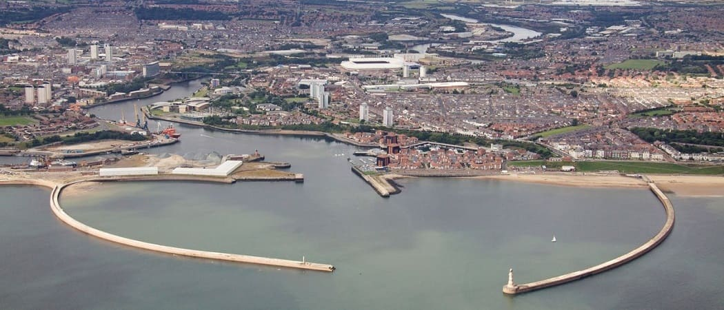 Wearside news headlines - Port of Sunderland - piers and lighthouse aerial image - Stadium of Light