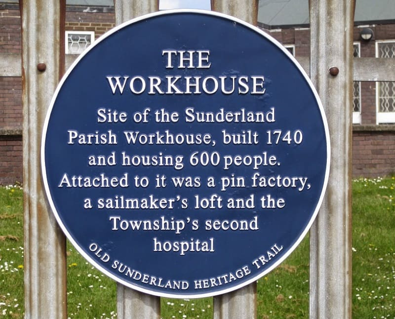 Sunderland Workhouse Plaque information
