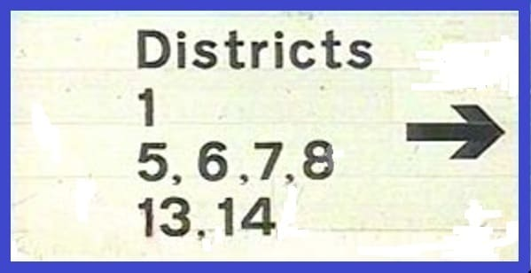 Washington district numbers road sign