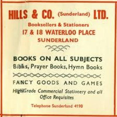 Hills Bookshop Waterloo Place Sunderland advert