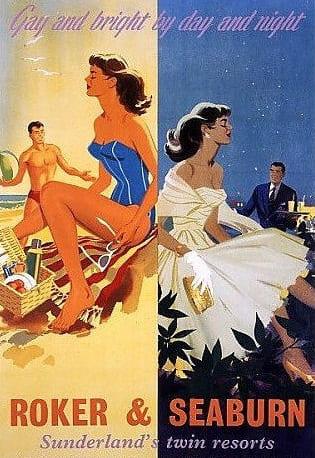 Roker and Seaburn Sunderland - twin resorts - tourism poster - beaches guide