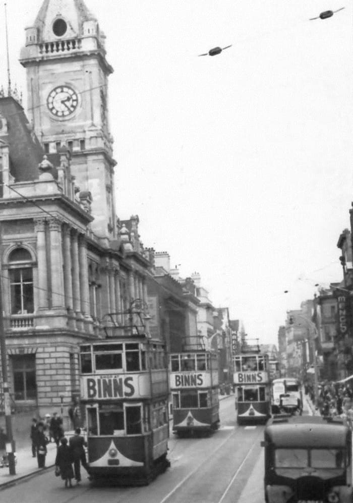 Sunderland Town Hall with trams adverts - Shop At Binns