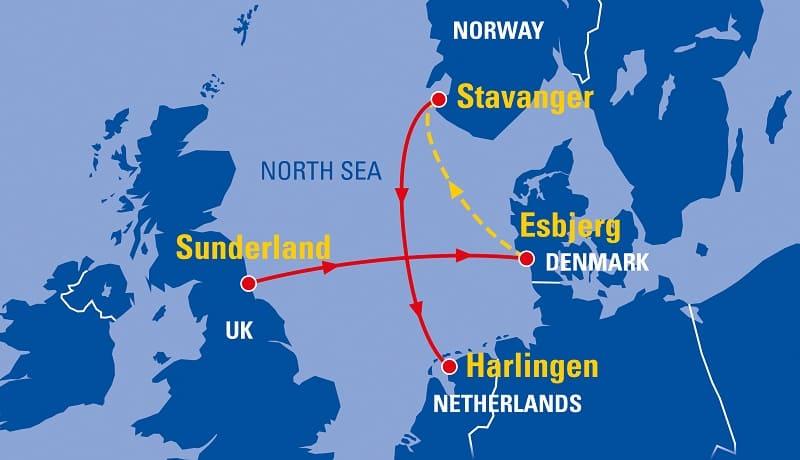 Tall Ships Map - Sunderland - Esbjerg - Stavanger Harlingen 2018