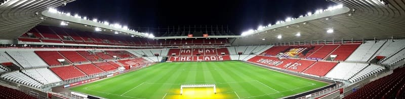 Sunderland Stadium of Light - white corner seats and renovations