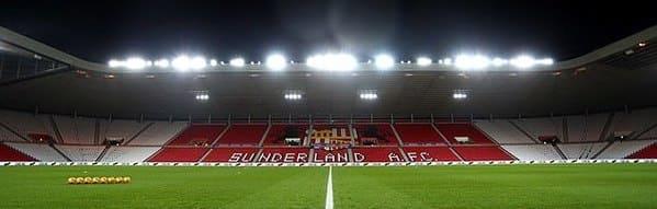 Stadium of Light floodlights on at night