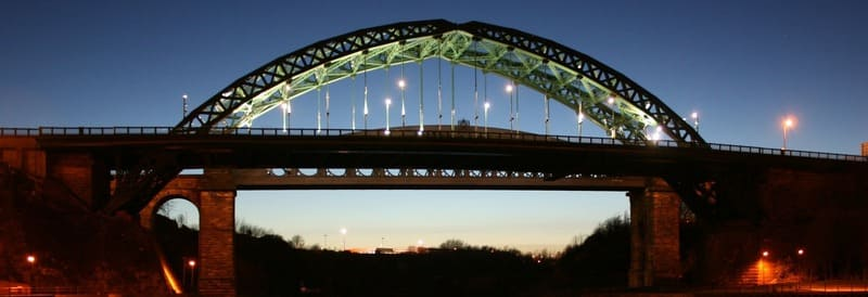 Night view of the Wearmouth Bridge across the River Wear